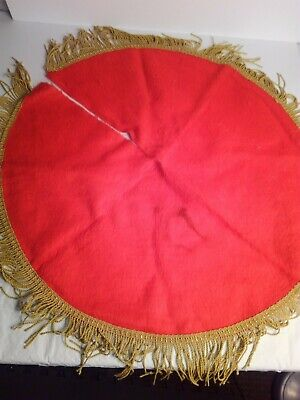 Vintage Christmas tree skirt. Red with gold fringe 24 inch