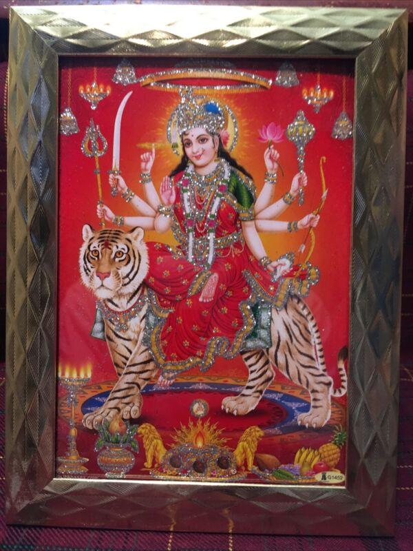 Framed Goddess Durga 5x7 Glitter Photo Poster Painting Hindu