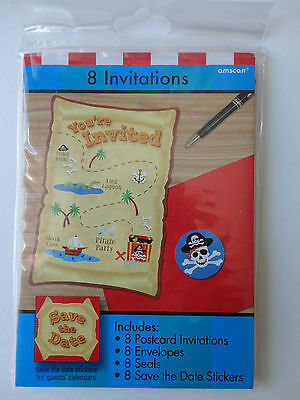 Pirates Birthday Party Invitations 8 COUNT