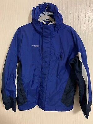Columbia Vertex Mens Medium Blue Double Zip Jacket Hooded Raincoat Double Zip Hooded Jacket