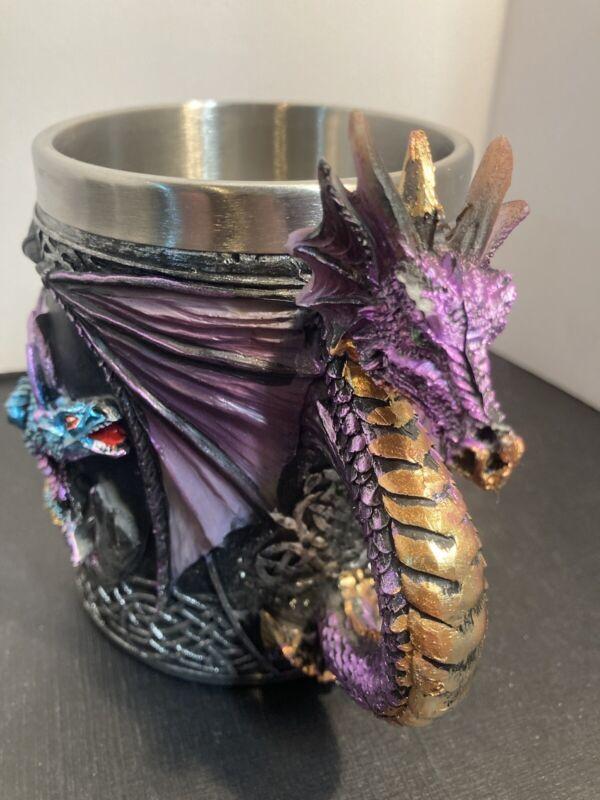 Purple Gothic Dragon Decorative Tankard Celtic Knot Work Mug Cup ~ Pencil Holder