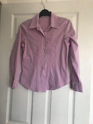 Katharine Hamnett Ladies Purple Long Sleeved Blouse Shirt Size 12 Pintuck Front