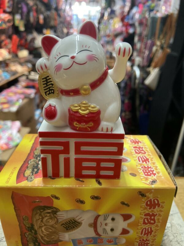 Fortune Lucky White Cat Kitten Feng Shui Wealth Waving Maneki Beckoning 4 Inch