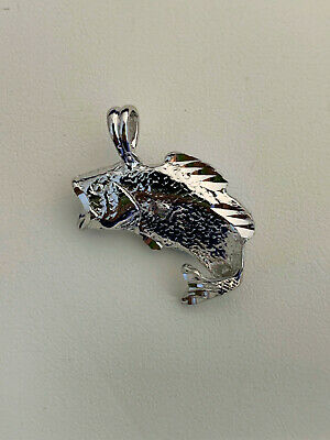 Rhodium Plated Charm - Jumping Bass Fish Pendant Charm Rhodium Plated 3D Diamond-Cut Sport Fish New