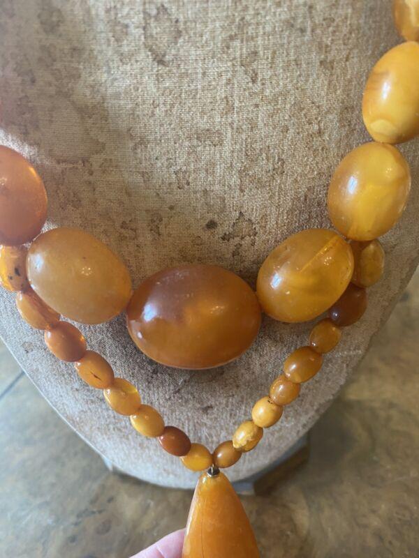 Antique Large Bead Butterscotch Egg Yolk Amber Necklace 77g