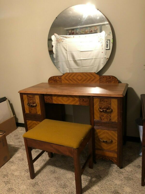 Vintage Walnut Vanity with Matching Bench