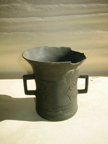 Rare Antique Primitive 19th Century Apothecary Brass Mortar