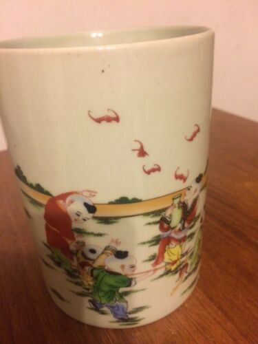 Chinese old marked famille rose kids play game pattern porcelain brush pot