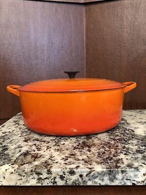 Vintage LE CREUSET Flame Orange Cast Iron Oval 5qt DUTCH OVEN Excellent Shape E