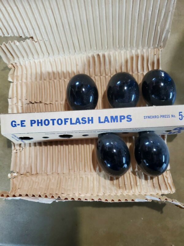 Vintage GE No. 5-R flashbulbs PhotoFlash Midget Synchro-press Bulbs (5)