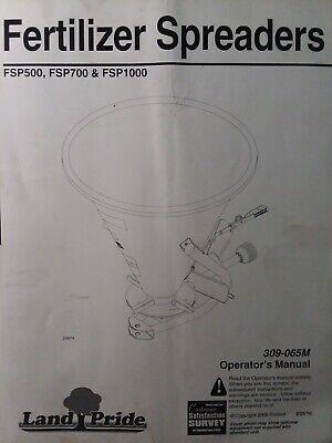 Land Pride Fsp500 Fsp700 Fsp1000 Farm 3-point Fertilizer Spreaders Owners Manual