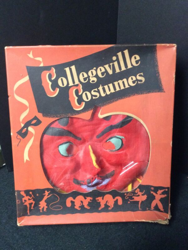 1950 Vintage Collegeville Halloween Devil Costume- Small 34-36 Cloth Mask & Suit