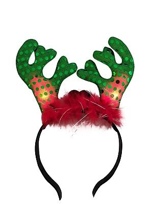 LED Light Up Reindeer Antlers Headbands Christmas Accessory Holiday - Rudolph Headband