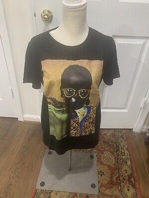Zara Black Women's T-Shirt Black, Golden Graphic, Size Medium M