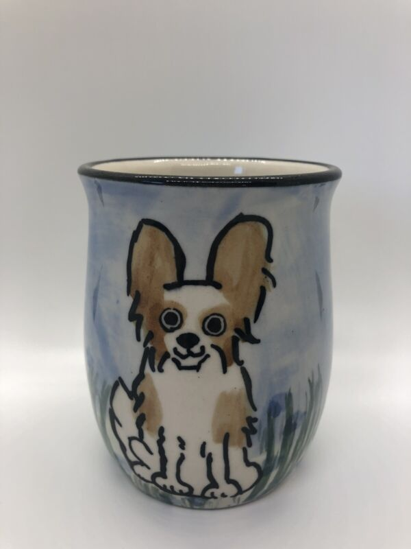 Hand Painted Pottery Papillon Dog Coffee Mug KAREN DONLEAVY KD 16 Oz