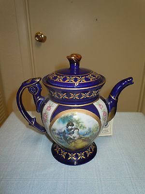Beautiful Venetian Lagoon Limoges Teapot, Cobalt Blue, Fine Porcelain