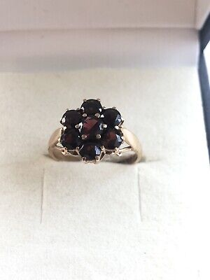 9ct Gold Garnet Ring Vintage Size n 1/2