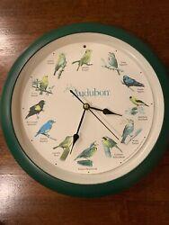 Audubon Singing Birds Wall Clock Vintage  13 Hunter Green