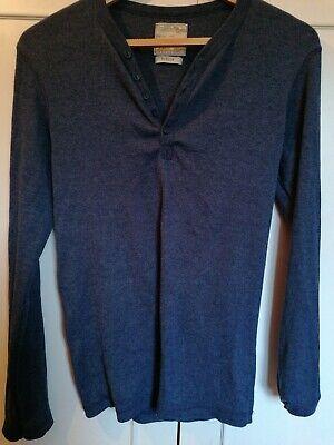 Burton Mens Blue Henley Long Sleeved Top Shirt Medium M
