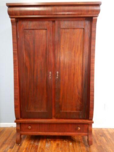 Large Antique Empire Revival Knockdown Armoire Wardrobe Cabinet Mahogany