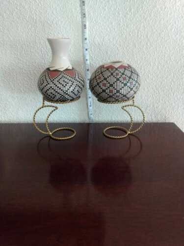 2 Small Mata Ortiz Pottery  With Metal Bases