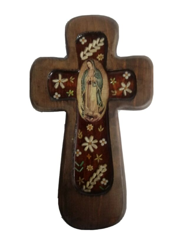 Crucifix Wall Cross Real Wood Mother Mary Vintage Art Christian Catholic