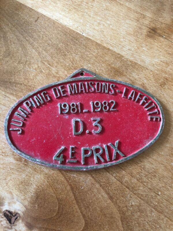 """VINTAGE FRENCH EQUESTRIAN PLAQUE """"1981-82 Jumping De Maison Lafitte"""""""