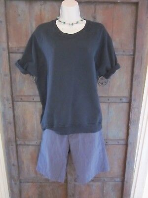 Sincerely Jules Cara Sweatshirt Navy Blue 100  Cotton Size Large Short Sleeves L
