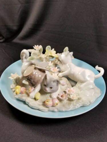 "RARE Vtg 1998 Seymour Mann Connoisseur/Bernini ""Cat Duo"" LE Sculptural Plate/NIB"