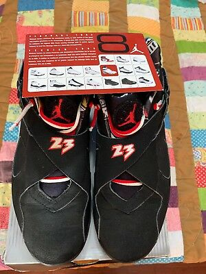 NIKE AIR JORDAN 8 RETRO LOW MENS SZ 11 BLACK/TRUE RED-DEL SOL  ALL SUEDE