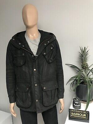 Barbour International FOG PARKA Black Wax Waxed Hooded Black Jacket Medium M 40