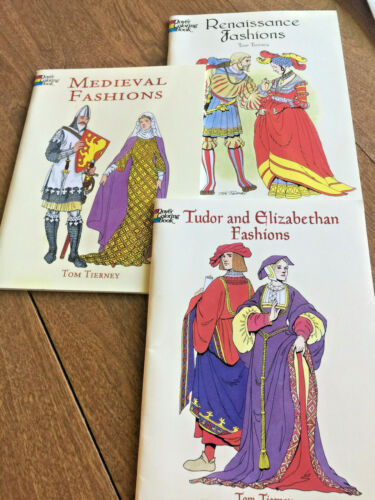 Lot of 3 Dover Medieval and Renaissance Fashions Coloring Books Tom Tierney