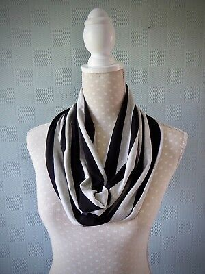 black and grey striped cowl scarf, unisex snood, cotton jersey loop scarf (Black And Gray Striped Scarf)