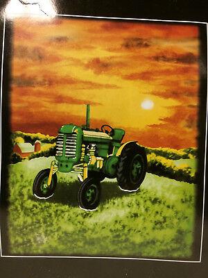 - Tractor Farm Work Green John Deere Sun Rise Set Soft Fleece Throw Blanket NEW