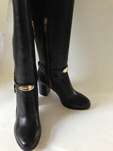 Michael Kors Arley high heel black leather boots w/ gold details