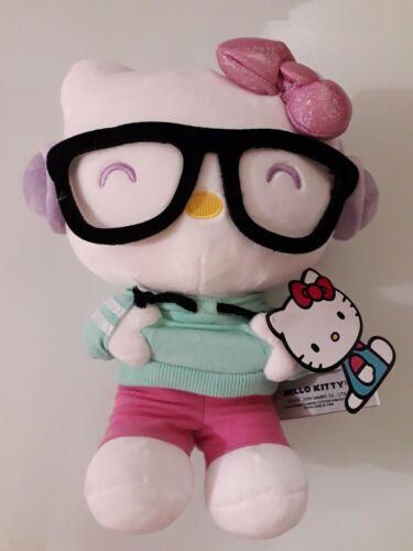 "Sanrio Hello Kitty Wear Black Glasses Plush 10"""