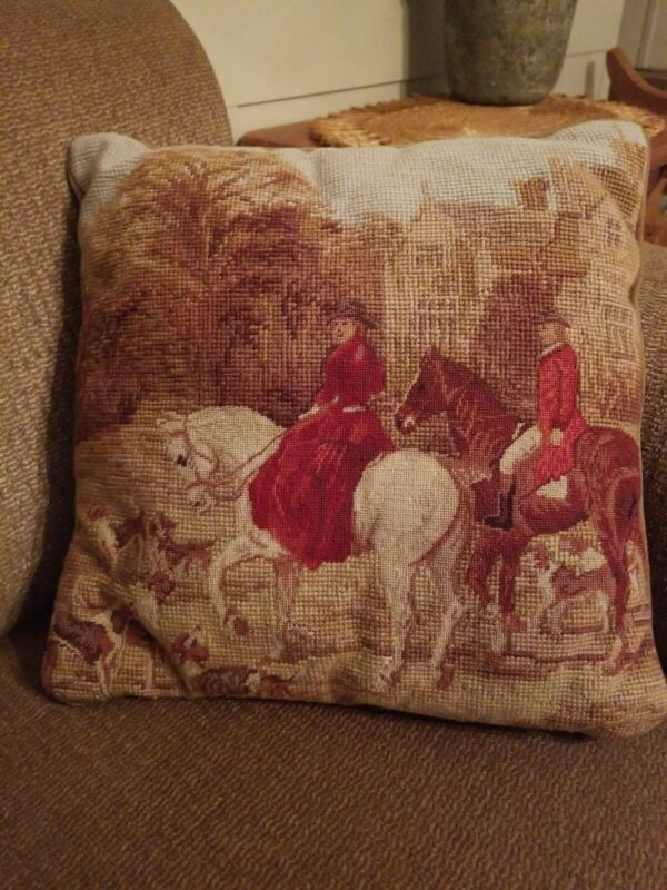 Vintage Victorian Man Woman Dog Needlepoint Pillow Steinwinder Enterprises 13""