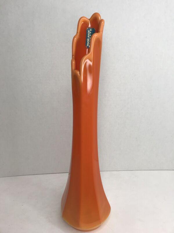 "LE Smith Mid Century Handmade Fayette Glass Orange Bittersweet Swung Vase 15"""