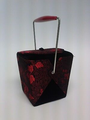 out Box Purse In Red And Black Silk Rayon NWOT (Takeout-box)