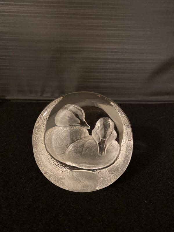 Mats JONASSON Paperweight Sculpture Embossed Duck Bird SWEDEN Signed Art Glass