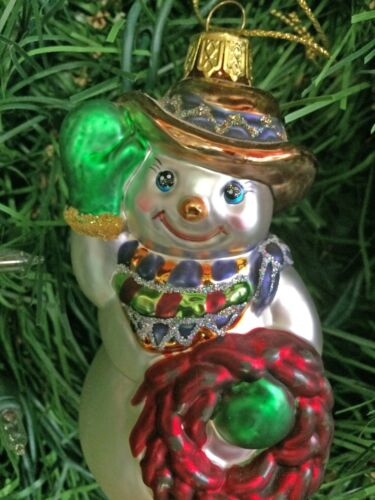 Frosted Glass Western Cowboy Snowman Christmas Ornament NWT