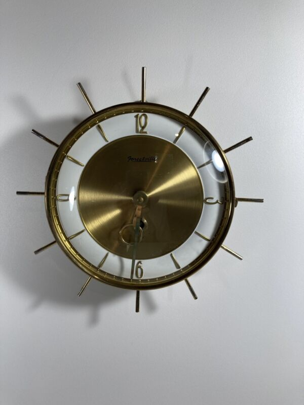 """Mid Century Modern Forestville Starburst Wall Clock 8"""" Wind Up Accurate Time"""