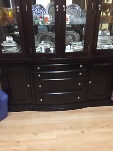 Awesome 2 piece China cabinet with light 81 h 66w 16 D