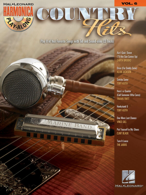 Country Hits for Harmonica Play-Along Vol 6 Harp Sheet Music 8 Songs Book CD