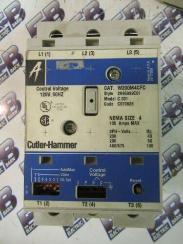 Cutler Hammer W200M4CFC, SIZE 4 Starter, 600 Volt, 3 Pole, 120 Volt Coil- S164