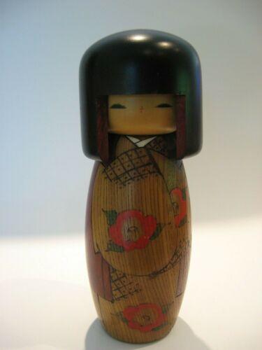 Vintage Kokeshi Wood Doll w/ Stickers Japanese Folk Art Hand Made Antique Japan