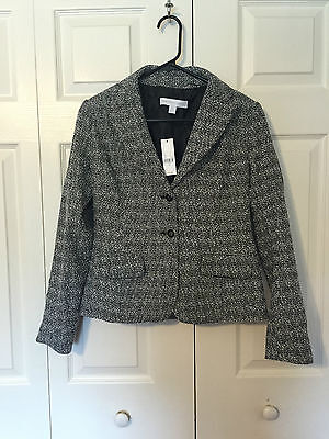 New York and Company gray and white button suit jacket 0 NWT