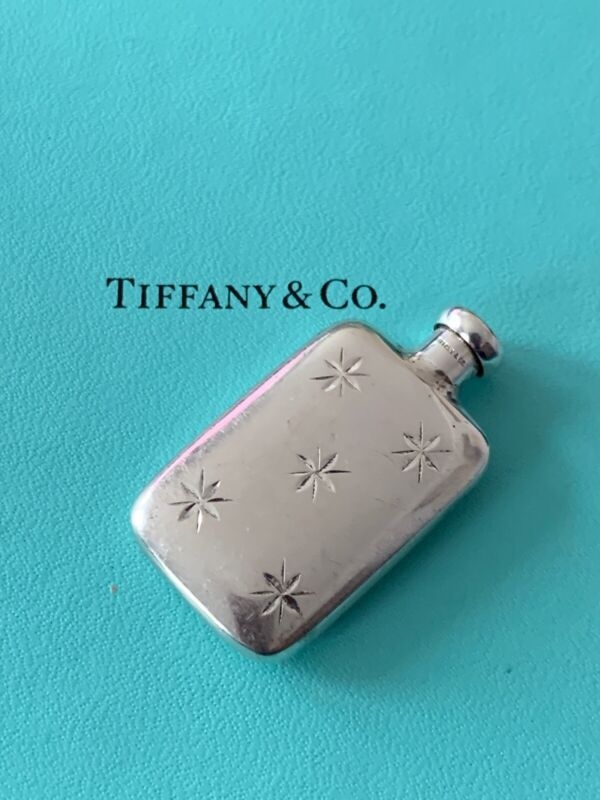 Tiffany & Co Sterling Miniature Perfume Bottle Etched Star Pattern VINTAGE