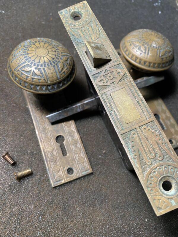 Antique Victorian  Brass Mallory Weller Eastlake Lockset & Skeleton Key