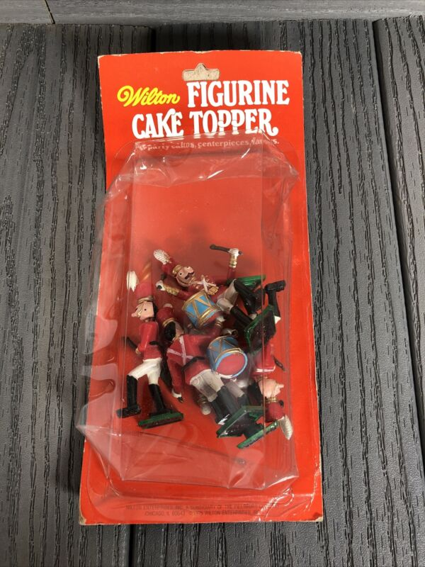 NOS 5 Wilton Plastic Christmas Toy Soldiers Band Cake Toppers Decoration VTG